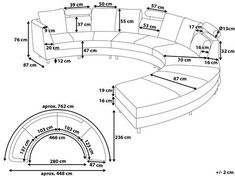 Beliani Modern Curved Sectional Sofa with Chaise and Headrests Grey Fabric Rotunde Curved Sectional, Grey Sectional Sofa, Couches, Capitone Sofa, Living Room Sofa Design, Sofa Dimension, Sofa Colors, Sofa Frame, Fabric Sofa