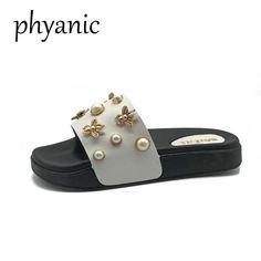76c55543d Phyanic Brand Hot Sale Women Shoes Bee Pearl Women Slippers 2018 Summer  Leisure Beach Slides Femsle Flip Flops Low Flat Heel