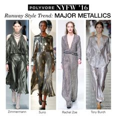 """NYFW Runway Trend: Major Metallics"" by polyvore-editorial ❤ liked on Polyvore featuring Rachel Zoe, SUNO New York, Zimmermann, women's clothing, women, female, woman, misses, juniors and NYFW"