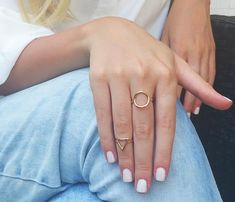 Gold Open Ring Boho Ring Gold Circle Ring Triangle Ring Available on Etsy! Dainty Gold Rings, Unique Rings, Silver Rings, Stylish Rings, Zierlicher Ring, Ring Set, Ringe Gold, Triangle Ring, Packing Jewelry