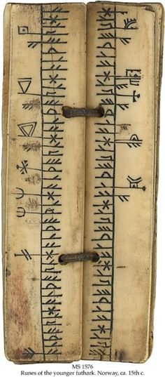 MS   in Norwegian on walrus bone or reindeer horn, Norway, ca.    15th c., 6 ff., 3x14 cm, single column, (2x14 cm), 1 line in runes    of the younger futhark, 93 feastday symbols in a rather early primitive stage,    including the 2 St. Olav axes.  From the Schoyen collection.