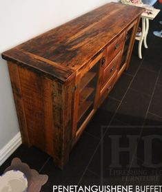 Ontario Reclaimed Wood Furniture Reclaimed Wood Credenza by HD Threshing Floor Furniture of Cambridge, Ontario  www.hdthreshing.com Email directly at rw@table.ca
