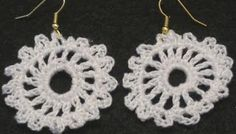 Free Crochet Pattern Or Video:  How to make Crochet Earrings - Emma From http://www.crochetgeek.com/2010/08/how-to-make-crochet-earrings-emma.html