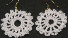 Free Crochet Pattern Or Video:  How to make Crochet Earrings - Emma From http://www.crochetgeek.com/2010/08/how-to-make-crochet-earrings-emma.html