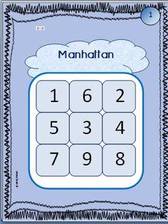 Des planches pour un atelier individuel et progressif de numération travaillant la reconnaissance des chiffres jusqu'à 39.  but du jeu: construire des gratte-ciel avec des multicubes ou légos de la hauteur indiquée par le chiffre.