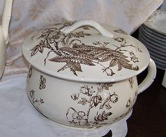 AESTHETIC Antique Ironstone CHAMBER POT & LID BROWN Transferware Staffordshire