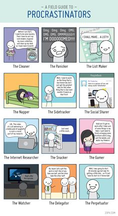 A field guide to PROCRASTINATORS - definitely the top 3 :P