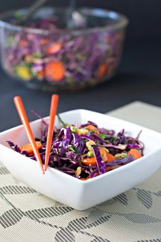 Moroccan Red Cabbage Slaw with Mint and Hemp Seeds: loaded with natural enzymes (raw, vegan).