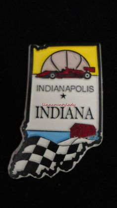 INDIANA State Outline Magnet Souvenir Indianapolis Racing Covered Bridge