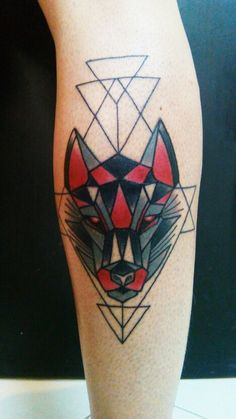 Geometrical Wolf Tattoo