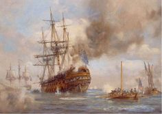 """""""'HMS Augusta,' Philadelphia 1777,"""" by Geoff Hunt. In October 1777, the 64-gun """"HMS Augusta"""" tried to sail up the Delaware River, but on Oct. 23rd she ran aground and then caught fire."""