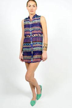 Mara Hoffman Frida Chiffon Lattice Tunic Dress
