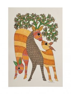Deer Gond Painting - 14in  X - 10in By Rajendra Shyam