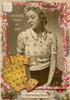 Vintage 1930s WW2 Knitting Pattern Lady's Diamond Stitch Jumper & Hat Set 1940s  | eBay