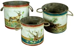 Shabby Chic Set Metal Country Stag Woodland Kitchen Storage Pails