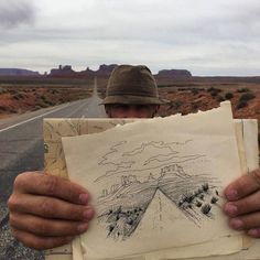 """The road called. I answered."" @jercollins_com pulls over for a quick drawing on the Arizona/Utah border. @emilieleelee #convergencefilm Hotels-live.com via https://www.instagram.com/p/BC22f9hCoJ3/"