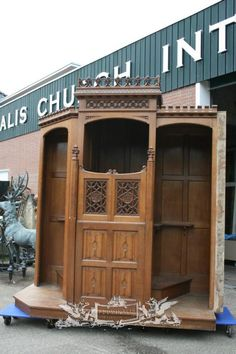 antique confessional full oak anno 1870 Dutch - Church Furniture - Fluminalis