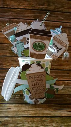 Stampin' Up! Card In A Box, Pop Up Box Cards, Coffee Cup Crafts, Mini Coffee Cups, Coffee To Go, Coffee Life, Coffee Plant, Coffee Break, Coffee Mugs