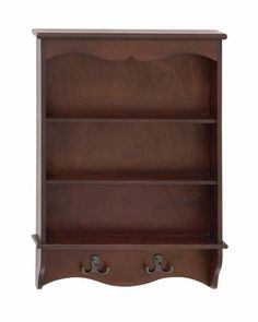 Brown Wall Mounted Wooden Cabinet with Hooks and Shelves - This wooden wall shelf hook can be very easily mounted on any wall in your house. Not only will it help you in hanging clothes but will also help you keep your house clean. Add it to any wall of your choice in your living space according to your need and convenience.