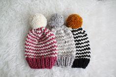 The Knitted Striped Baby Beanie / Pom Pom Beanie by WindyKnitsNW