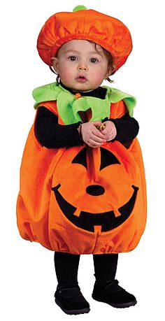 Infant Pumpkin costume #Halloween #JackOLantern