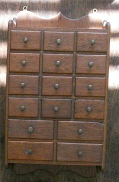EARLY ANTIQUE OAK 16 DRAWER SPICE APOTHECARY CABINET CHEST