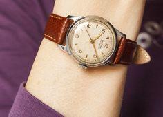 Unisex wrist watch Moskva - rare mechanical watch - caramel leather strap. $60.00, via Etsy. (SovietEra