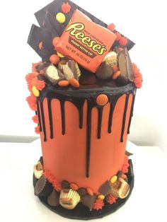 Reeses Peanut Butter Drip Cake Cakes In 2019 inside Reeses Cake Birthday - Party Supplies Ideas Peanut Butter Birthday Cake, Reeses Peanut Butter, Cake Birthday, Birthday Cake Flavors, Candy Cakes, Cupcake Cakes, Cupcakes, Reeces Cake, Salty Cake