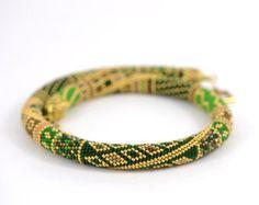 Cuento - Esmeralda amarillo marrón oro collar clásico grano Crochet collar moderno geométrico joyería abalorios hecho por encargo de Reyes
