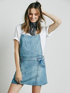FREE PEOPLE SAVANNAH CHAMBRAY JUMPER Denim Apron Dress Overall Skirt 6 #FreePeople #Jumper #Any
