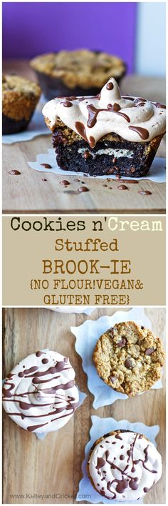 GOOEY, CHOCOLATEY, RICH, DECADENT- These Cookies n' Cream Stuffed Brookies are a combination of fudgey brownie, chocolate chip cookie, and have a baked-in cookie n' cream center. They are heavenly! And secretly HEALTHY! They are GLUTEN FREE, and VEGAN! You will drop to the floor when you try these :) Good luck stopping at just one!