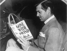 Getting a better idea of his character perhaps? ;) peopl, wind, book, clarks, hollywood, movi, clarkgabl, clark gable, gabl read