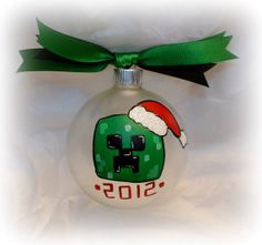 Creeper hand painted personalized glass ball ornament by nannie Diy Xmas Gifts, White Christmas Ornaments, Baby First Christmas Ornament, Ball Ornaments, Christmas Crafts For Kids, Christmas Angels, Christmas Projects, Holiday Crafts, Christmas Gifts