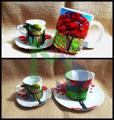 Detalle pintado a Mano - Tazas de Cafe ¨Campesino Dominicano¨