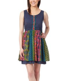 Another great find on #zulily! Navy & Green Damask Dress - Women #zulilyfinds