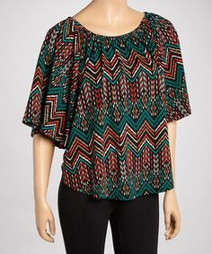 Take+a+look+at+the+R+Rouge+Teal+Tribal+Pointillism+Cape-Sleeve+Top+-+Women+on+#zulily+today!