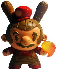 'Retro Brick Basher' by Erick Scarecrow for NYCC 2014. Great deconstruction of Mario for the Dunny platform.