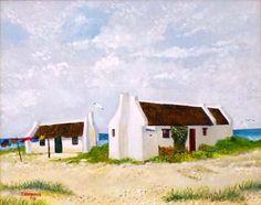 Waenhuiskrans City Landscape, Landscape Paintings, Landscapes, Fabric Painting, House Painting, Fishermans Cottage, Cape Dutch, Vertical Garden Design, Dutch House