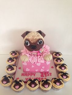Pug cake and cupcakes