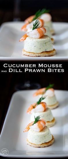 These Cucumber Mousse And Dill Shrimp Bites are sublime. The subtle and refreshing taste of cucumber combined in a soft heavenly mousse, sat on top of a crispy toast circle and topped with a succulent shrimp and the freshness of dill. From www.sprinklesands...