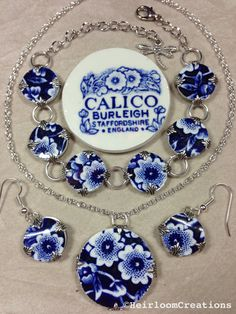 Calico Burleigh Blue jewellery set by HeirloomChinaJewelry on Etsy