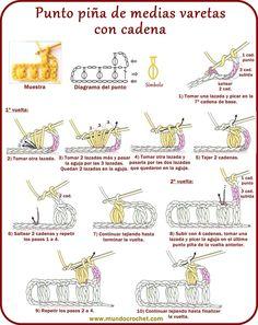 Punto piña de medias varetas con cadena a crochet o ganchillo