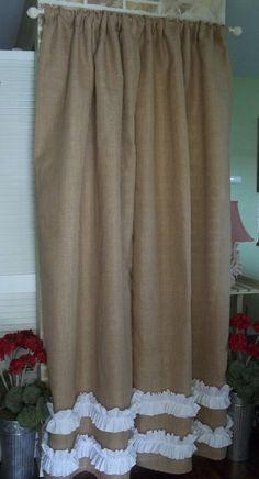 Burlap  Cotton Ruffles   Burlap Curtain by SimplyFrenchMarket, $45.00
