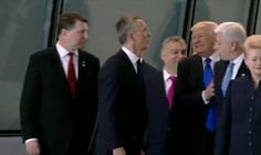 At a NATO gathering in Brussels, Donald Trump appeared to shove Montenegro Prime Minister Duško Markovic out of the way to get to the front of a group. Donald Trump, John Trump, Montenegro, Premier Ministre, Prime Minister Theresa May, Push Away, Ludacris, Emmanuel Macron, First Lady Melania