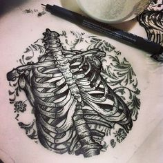 flowers in rib cage drawing - Google Search