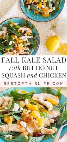 This hearty kale salad with butternut squash and chicken, topped with goat's cheese and dried cranberries, is perfect for autumn. #fallrecipe #butternutsquash #salads #saladrecipe #kale #kalesalad Roasted Butternut, Butternut Squash, Fall Recipes, Drink Recipes, Dinner Recipes, List Of Vegetables, Canadian Food, Large Salad Bowl, Kale Salad