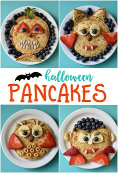 Imagine the delight your kids will have on their faces when they see a plate of Halloween Pancakes waiting for them tomorrow morning. Topped with fresh fruit for the faces, this breakfast treat will make your entire family happy. Halloween Snacks, Halloween Backen, Halloween Breakfast, Healthy Halloween, Breakfast For Kids, Holidays Halloween, Vintage Halloween, Halloween Makeup, Pancake