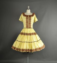 Vintage 1960s Dress full skirt polka dot lace   #Vintage #Dress #Fashion