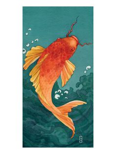 Riding The Wave II  Giclee Print  by Sybil Shane Gouache, Coy Fish, Carpe, Fish Drawings, Animal Drawings, Zentangle, Wave Art, Illustrations, Fish Illustration
