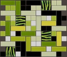 Meow Series 2 is a fabulous and funky mosaic featuring lime green dichroic glass tiles decorated with a zebra pattern! This fun design will liven up any bland bathroom! $42.49